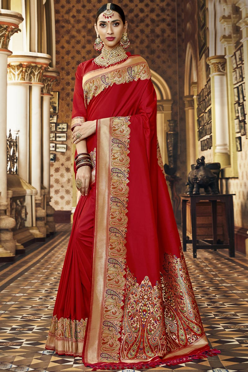 Silk Fabric Red Color Traditional Wear Fancy Saree With Weaving Work