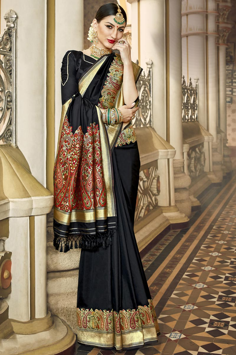 Black Color Traditional Wear Fancy Silk Fabric Saree With Weaving Work