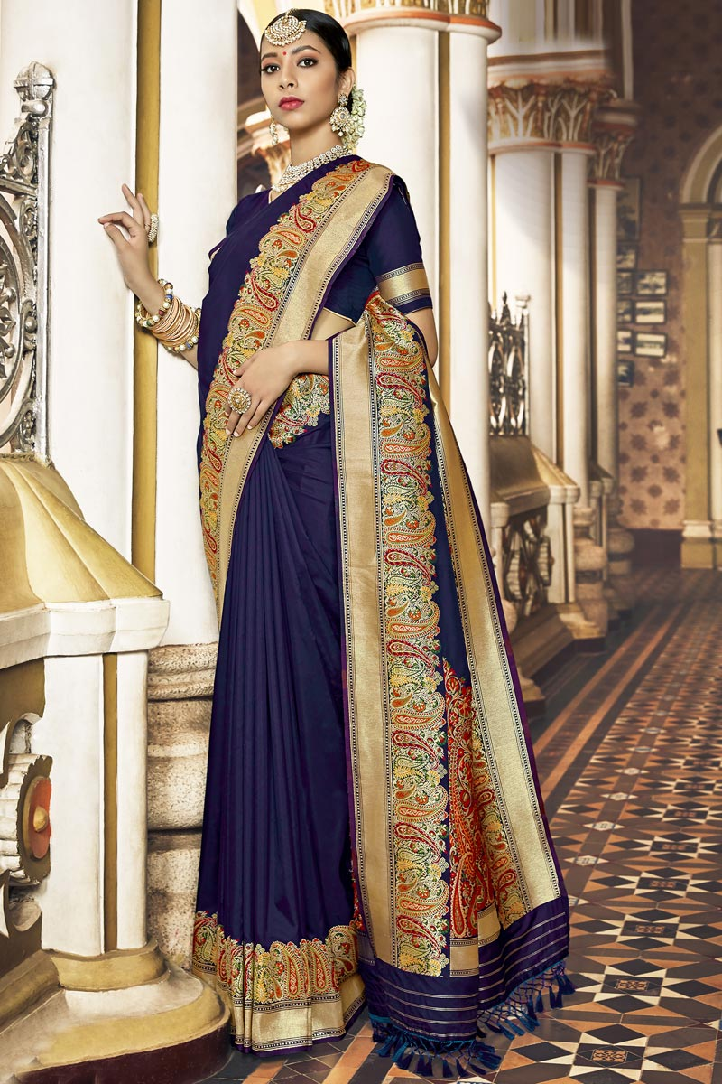 Occasion Wear Navy Blue Color Saree In Silk Fabric With Weaving Work