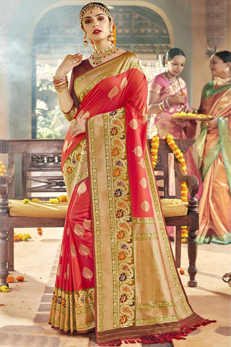 Red Color Sangeet Function Wear Designer Weaving Work Saree In Silk Fabric