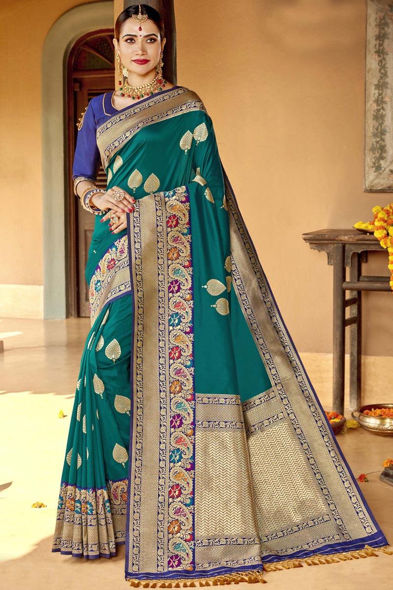 Weaving Work On Silk Fabric Sangeet Function Wear Designer Saree In Teal Color