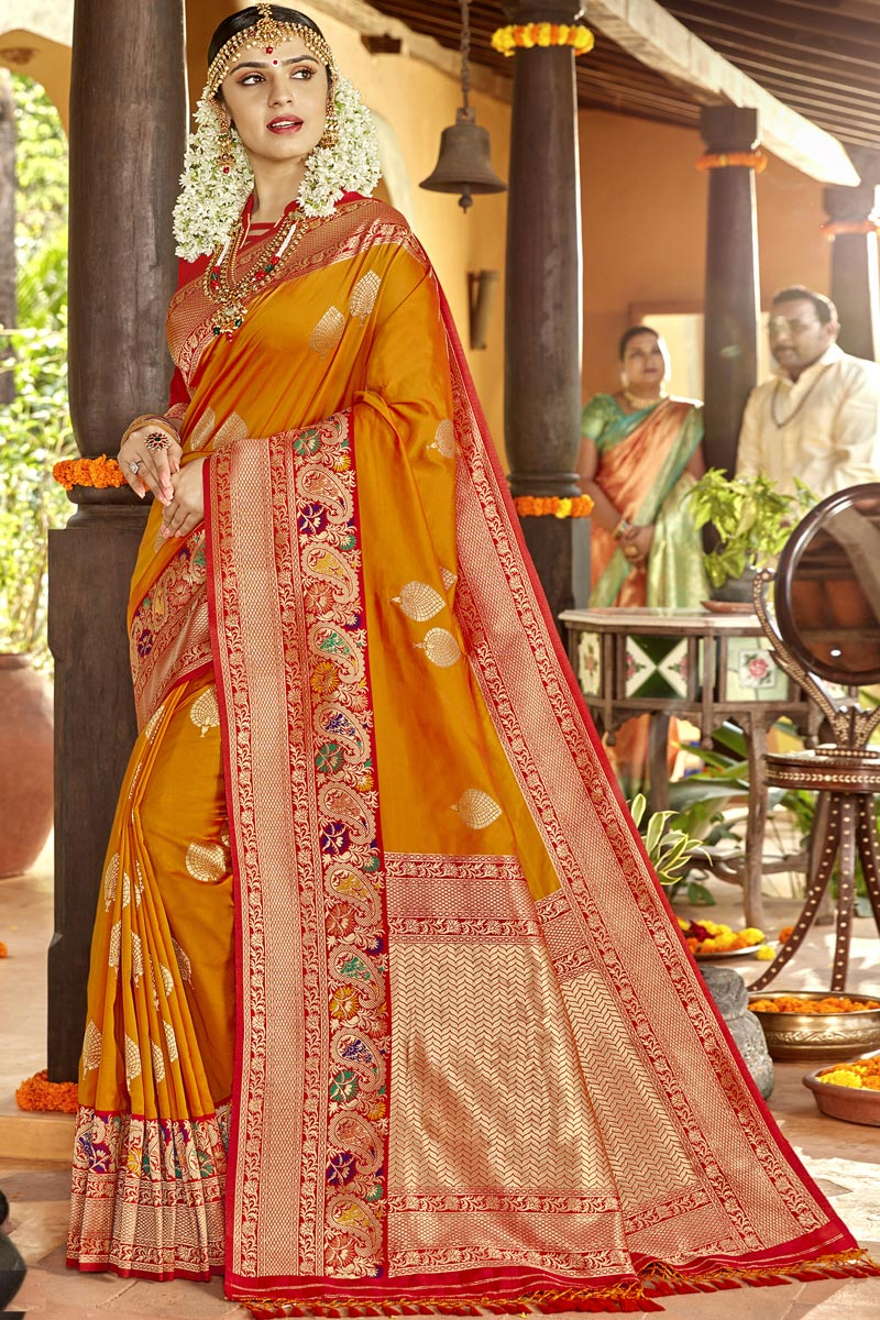 Orange Color Silk Fabric Sangeet Function Wear Designer Weaving Work Saree