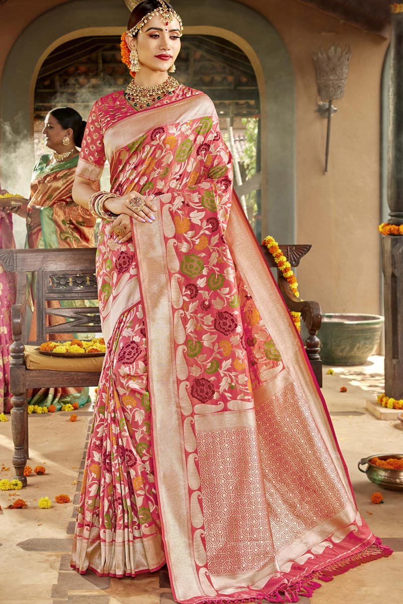 Silk Fabric Sangeet Function Wear Peach Color Designer Weaving Work Saree