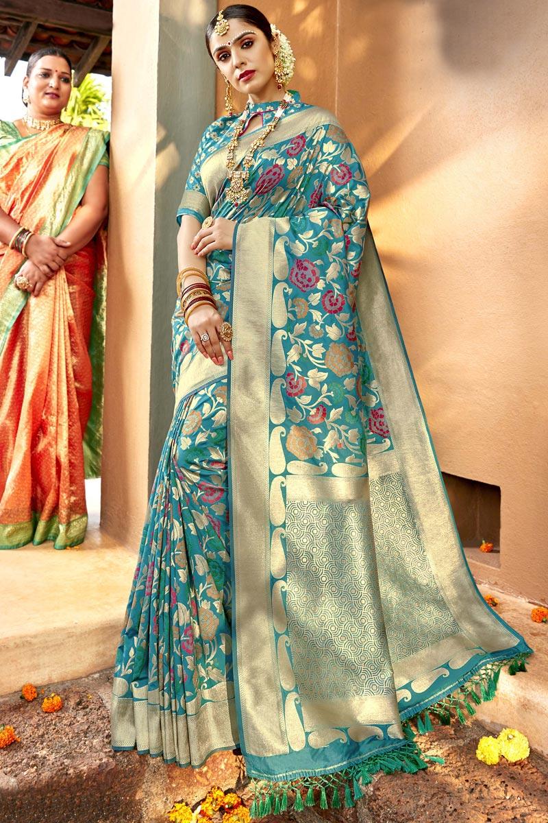 Silk Fabric Sangeet Function Wear Designer Cyan Color Weaving Work Saree