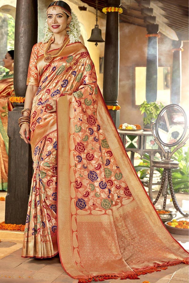 Peach Color Silk Fabric Sangeet Function Wear Designer Weaving Work Saree