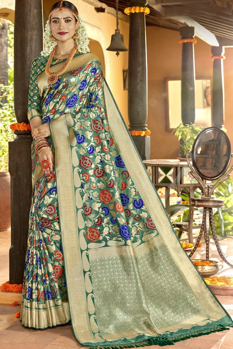 Weaving Work On Sea Green Color Sangeet Function Wear Designer Saree In Silk Fabric
