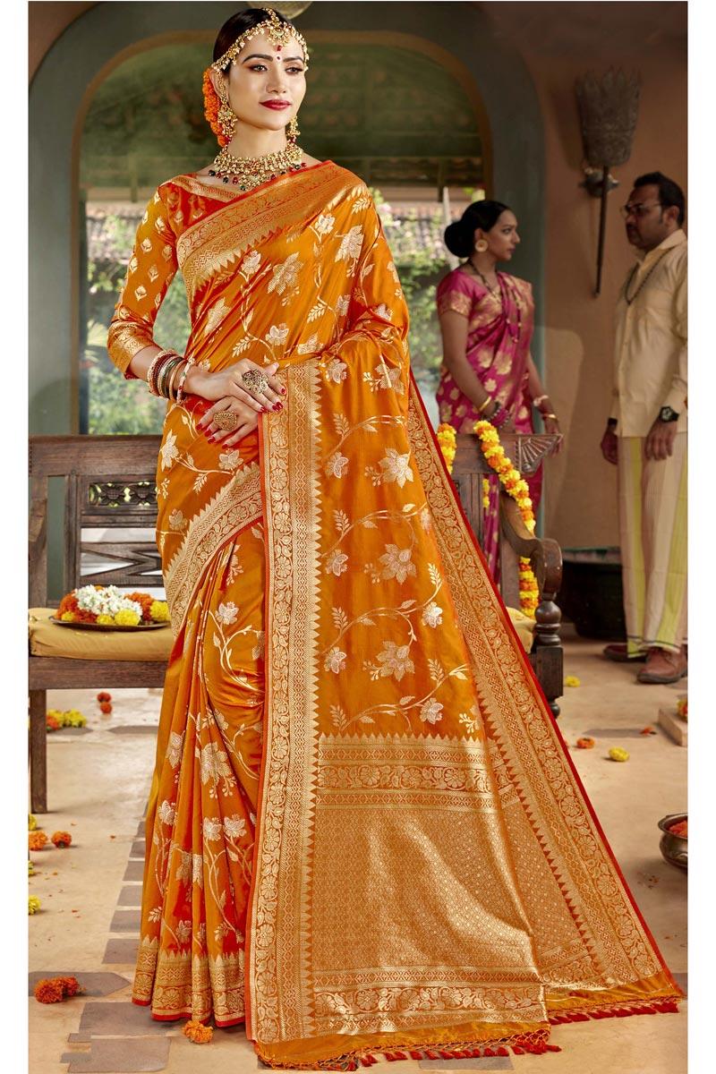 Silk Fabric Orange Color Sangeet Function Wear Designer Weaving Work Saree