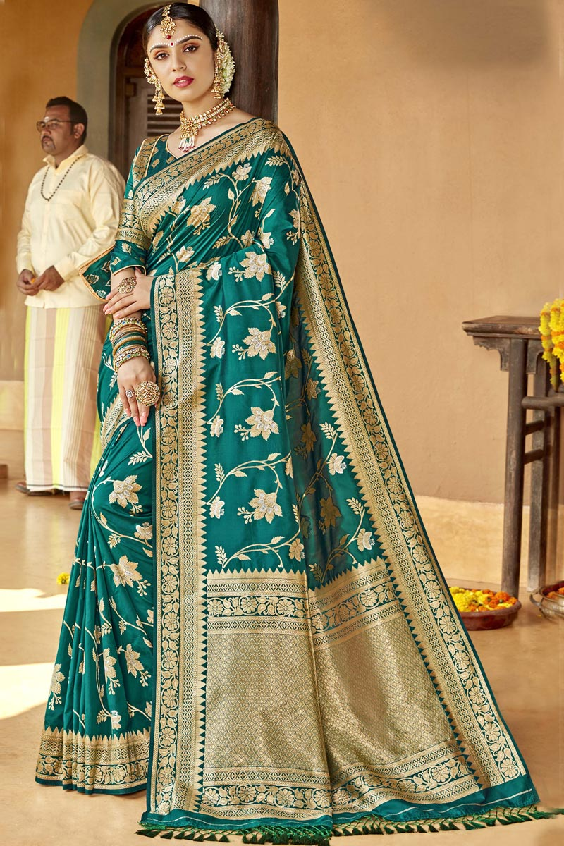 Teal Color Sangeet Function Wear Designer Silk Fabric Weaving Work Saree