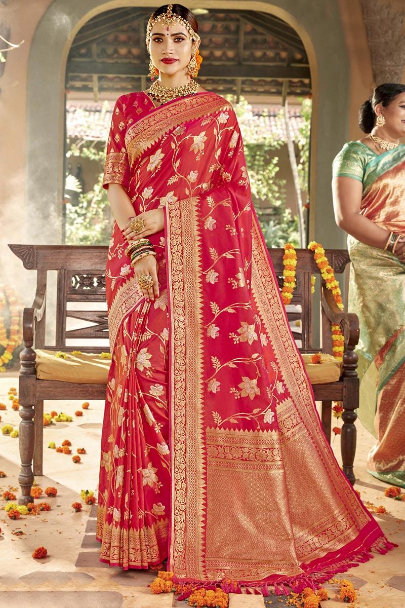 Silk Fabric Red Color Sangeet Function Wear Designer Weaving Work Saree