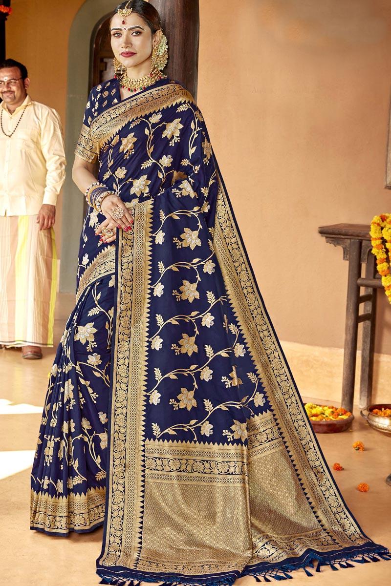 Navy Blue Color Traditional Wear Designer Silk Fabric Weaving Work Saree