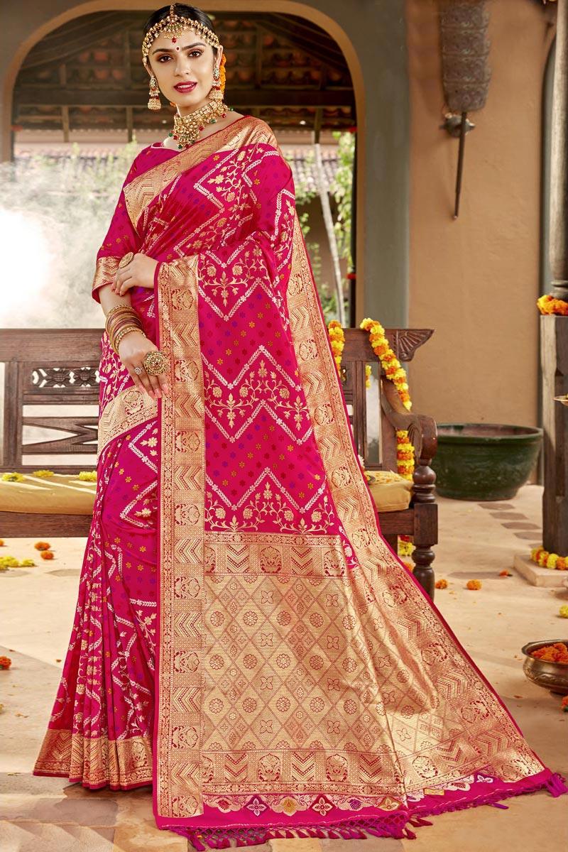 Silk Fabric Traditional Wear Magenta Color Designer Weaving Work Saree