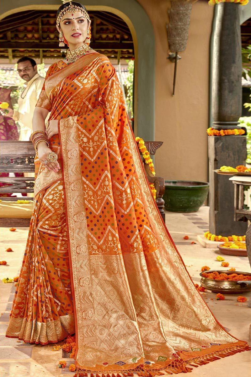 Weaving Work On Silk Fabric Traditional Wear Designer Saree In Orange Color