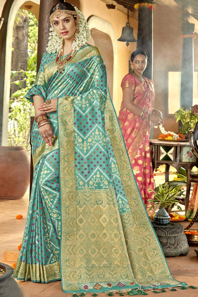 Sea Green Color Silk Fabric Traditional Wear Designer Weaving Work Saree