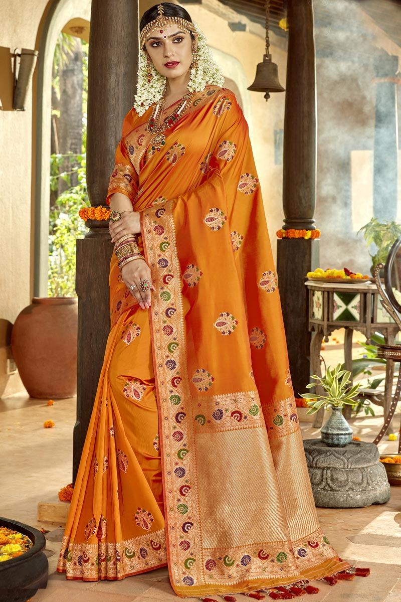 Orange Color Silk Fabric Traditional Wear Designer Weaving Work Saree