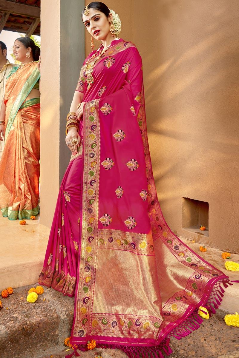 Silk Fabric Traditional Wear Designer Magenta Color Weaving Work Saree