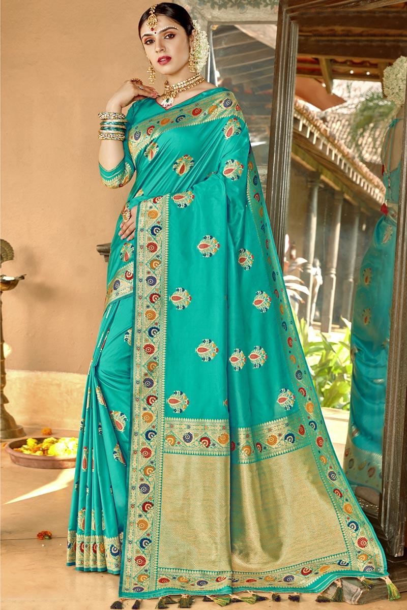 Cyan Color Silk Fabric Traditional Wear Designer Weaving Work Saree