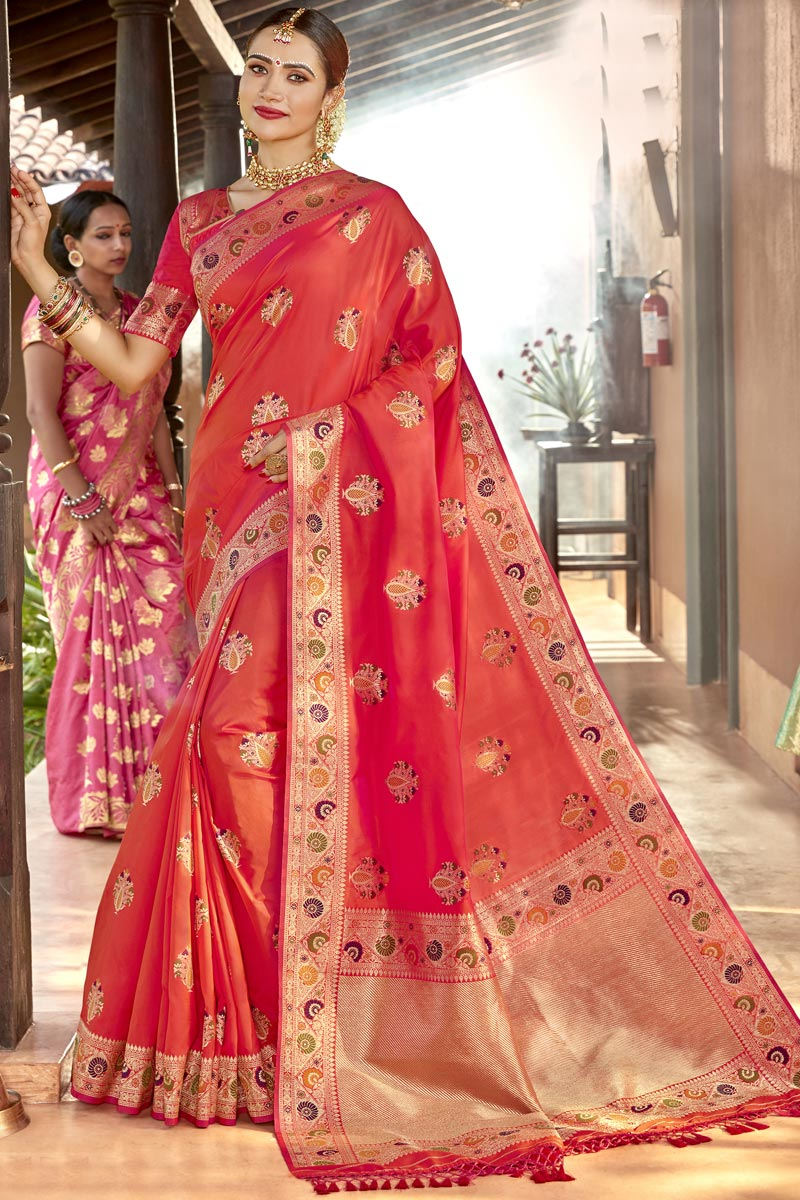Weaving Work On Red Color Traditional Wear Designer Saree In Silk Fabric