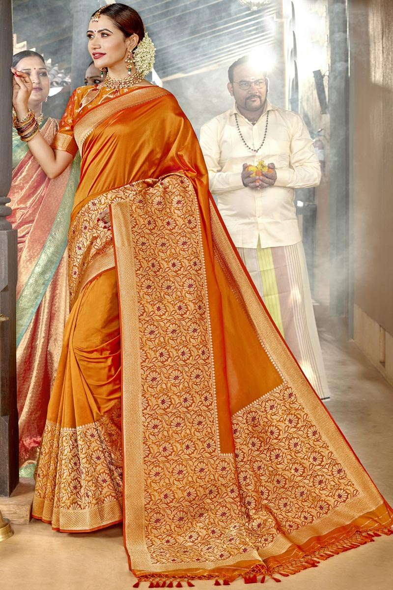Silk Fabric Orange Color Traditional Wear Designer Weaving Work Saree