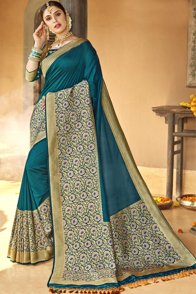 Teal Color Traditional Wear Designer Silk Fabric Weaving Work Saree