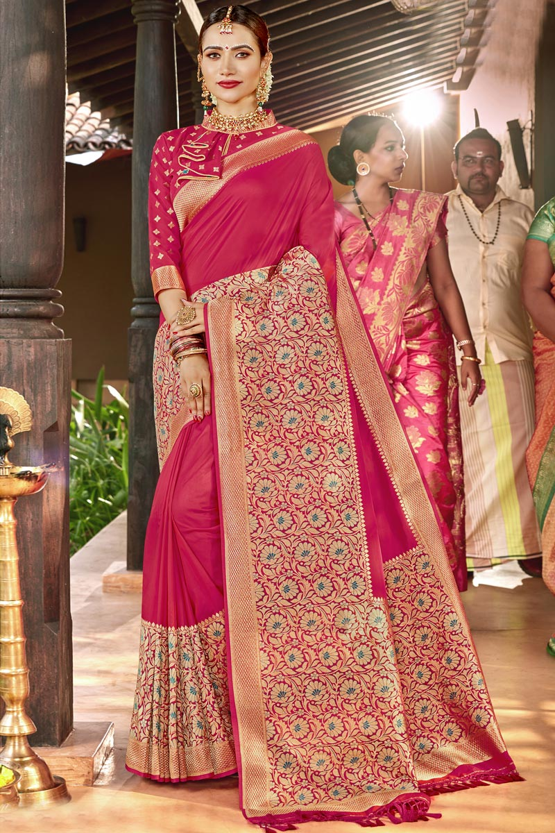 Silk Fabric Magenta Color Traditional Wear Designer Weaving Work Saree