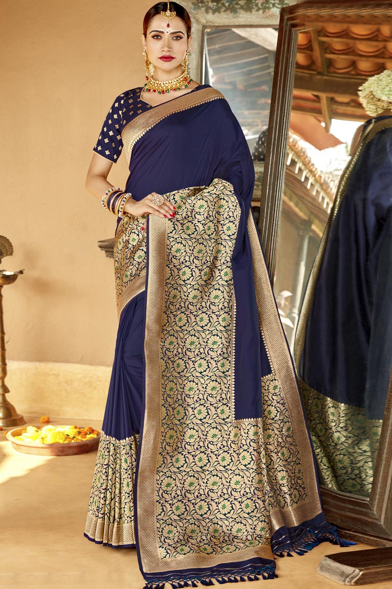 Navy Blue Color Sangeet Function Wear Designer Silk Fabric Weaving Work Saree