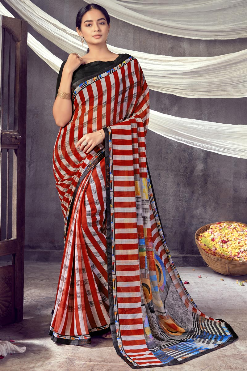 Georgette Fabric Classic Daily Wear Red Color Printed Saree