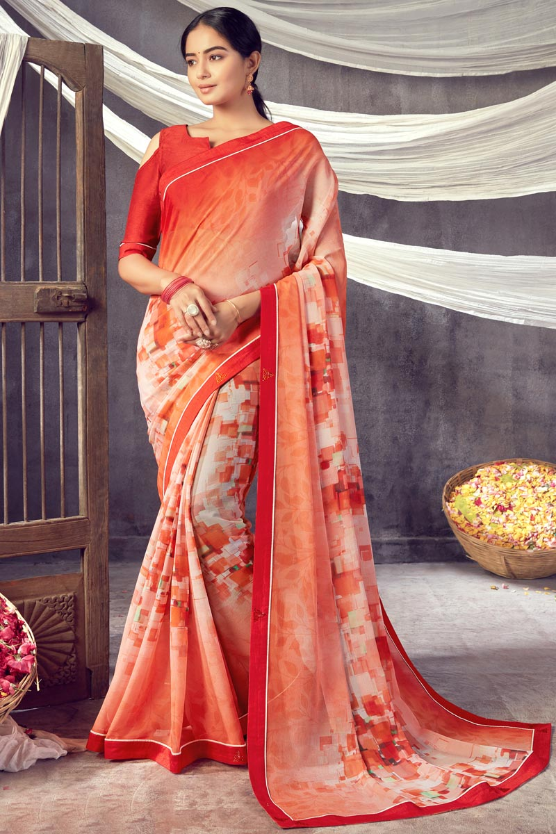 Daily Wear Classic Orange Color Printed Saree In Georgette Fabric