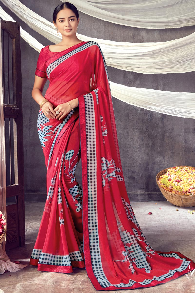 Daily Wear Red Color Classic Georgette Fabric Printed Saree