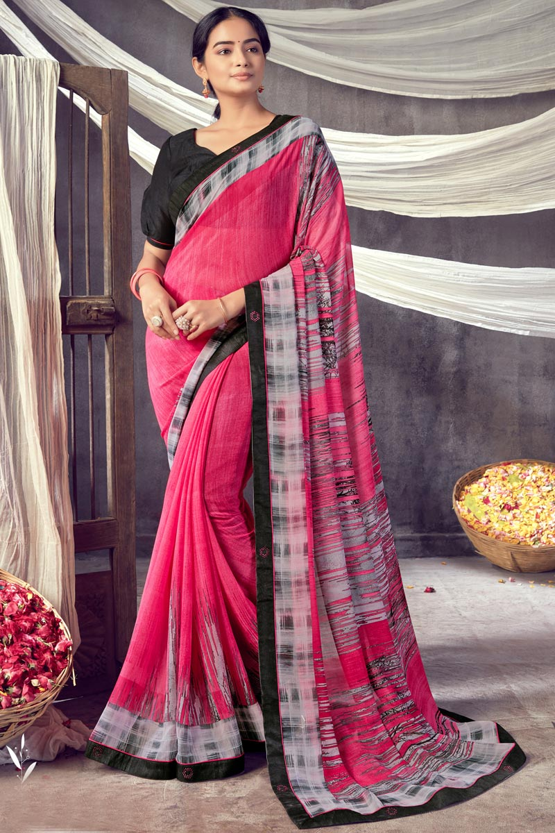 Daily Wear Classic Georgette Fabric Printed Saree In Pink Color