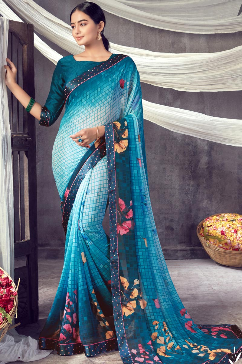 Daily Wear Georgette Fabric Classic Sky Blue Color Printed Saree