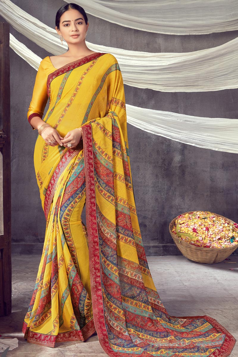 Daily Wear Georgette Fabric Classic Printed Saree In Yellow Color