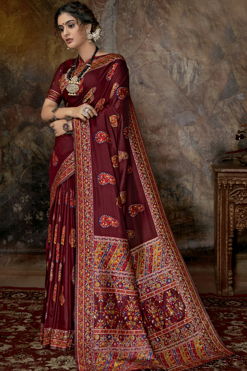 Maroon Color Designer Saree In Silk Fabric