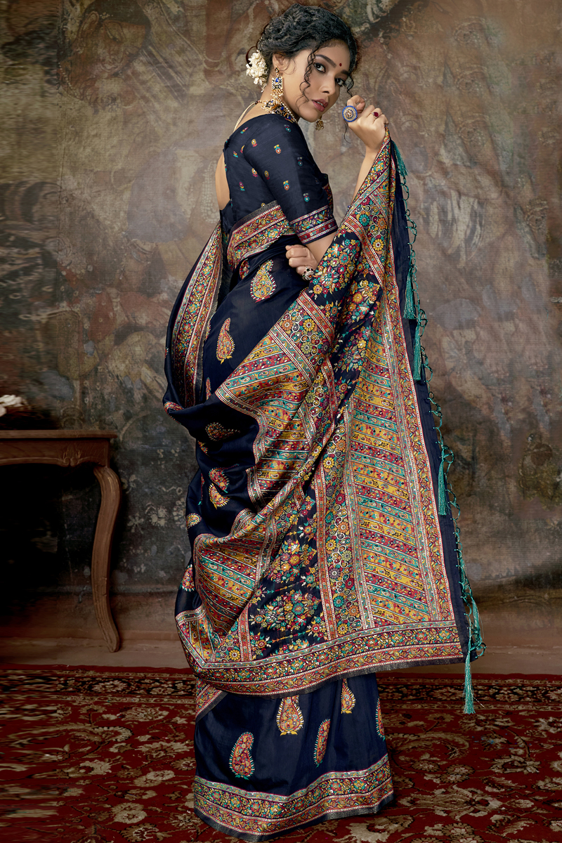 Silk Fabric Navy Blue Color Saree For Wedding Function