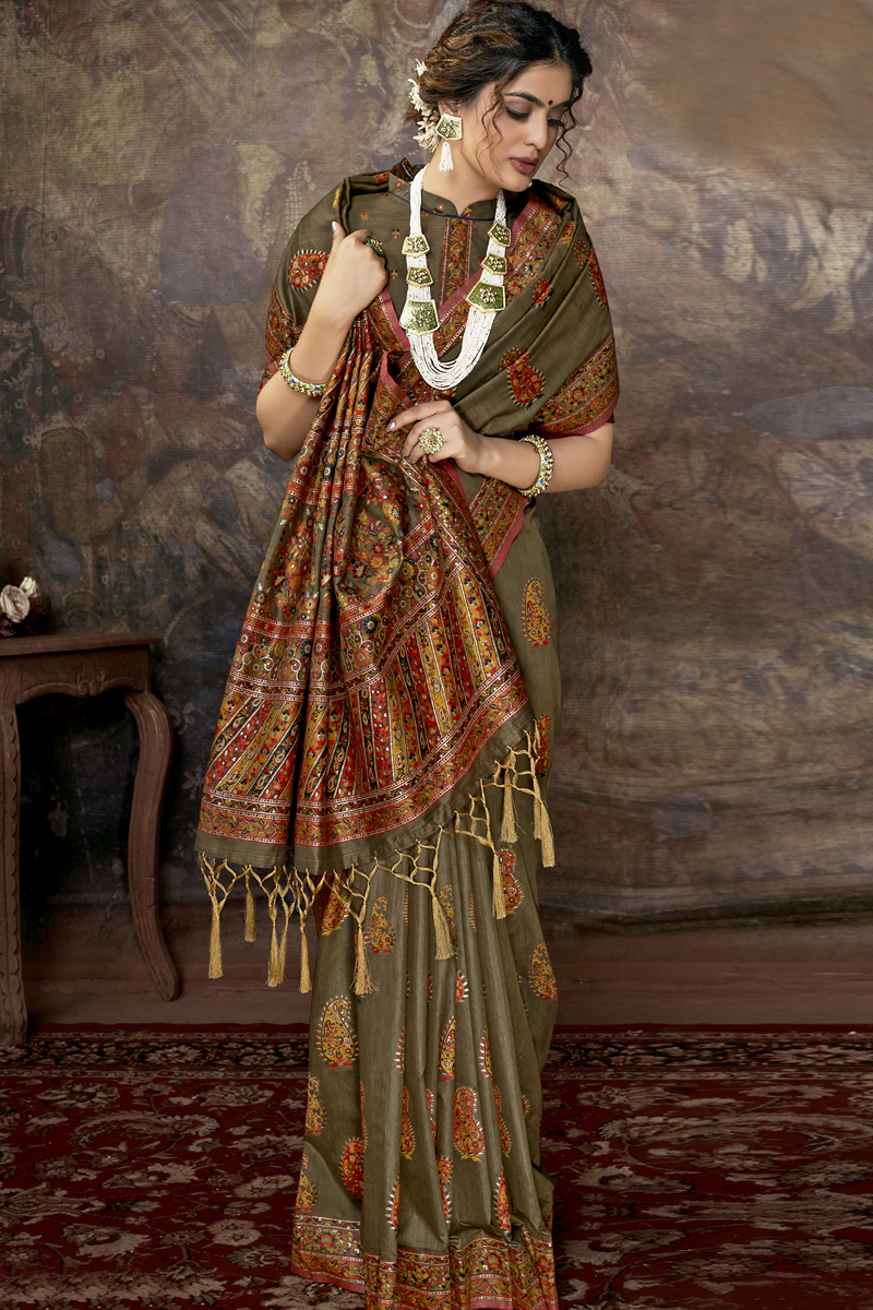 Festive Special Dark Beige Color Silk Fabric Function Wear Saree