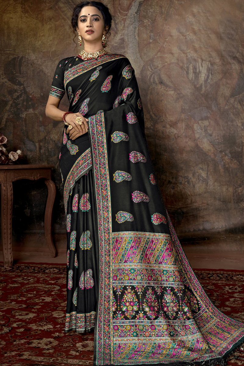 Silk Fabric Black Color Designer Saree