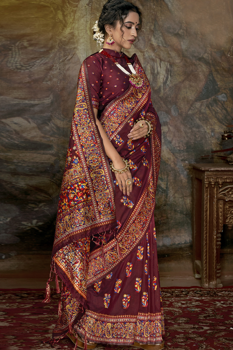 Maroon Color Party Wear Saree In Silk Fabric