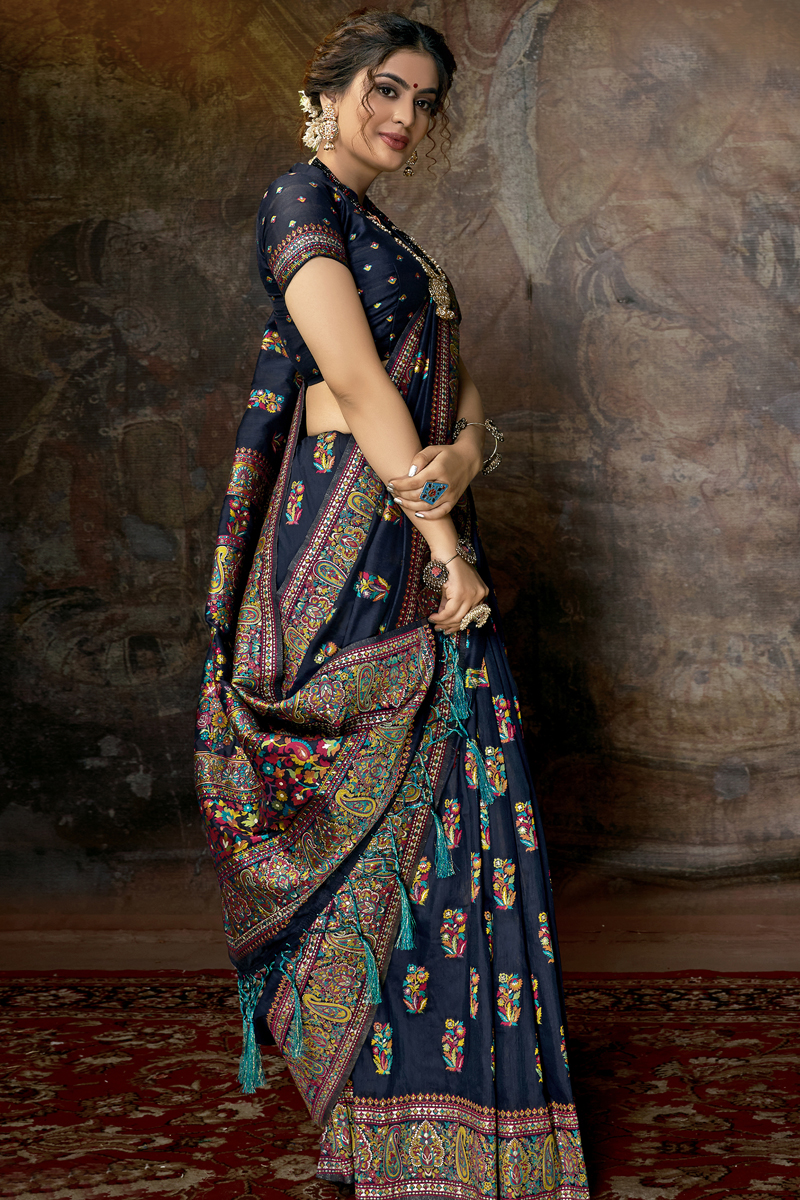 Silk Fabric Navy Blue Color Designer Saree