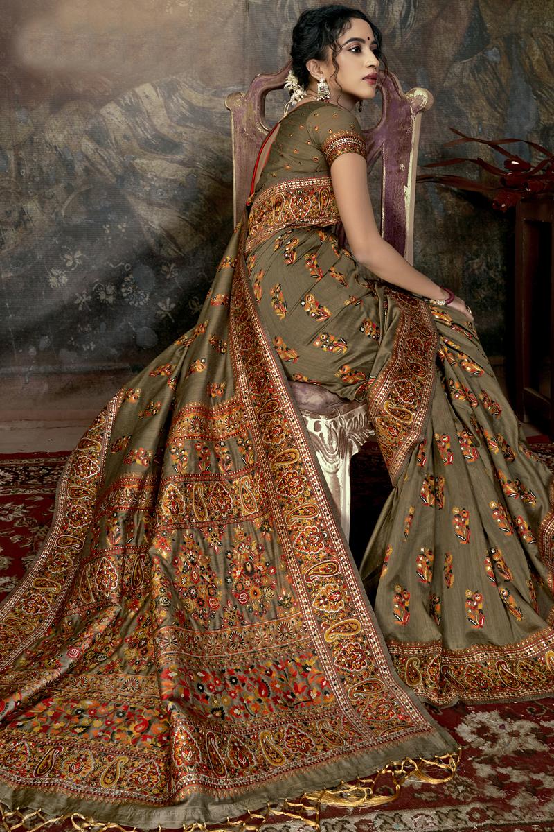 Festive Special Designer Dark Beige Color Silk Fabric Party Wear Saree