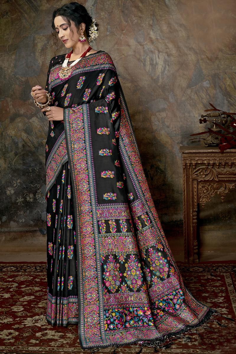 Festive Special Silk Fabric Black Color Fancy Printed Saree