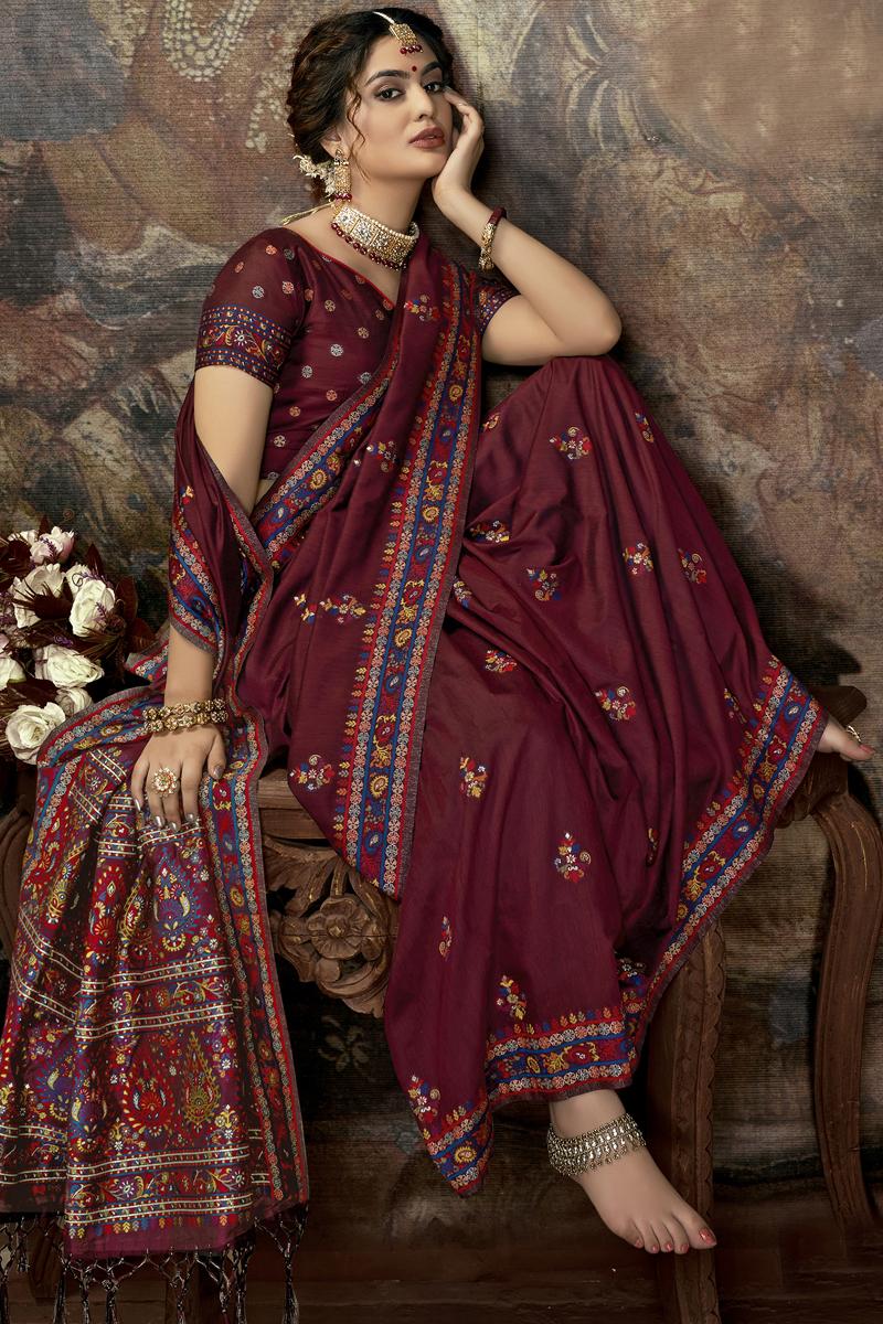Designer Maroon Color Silk Fabric Party Wear Saree