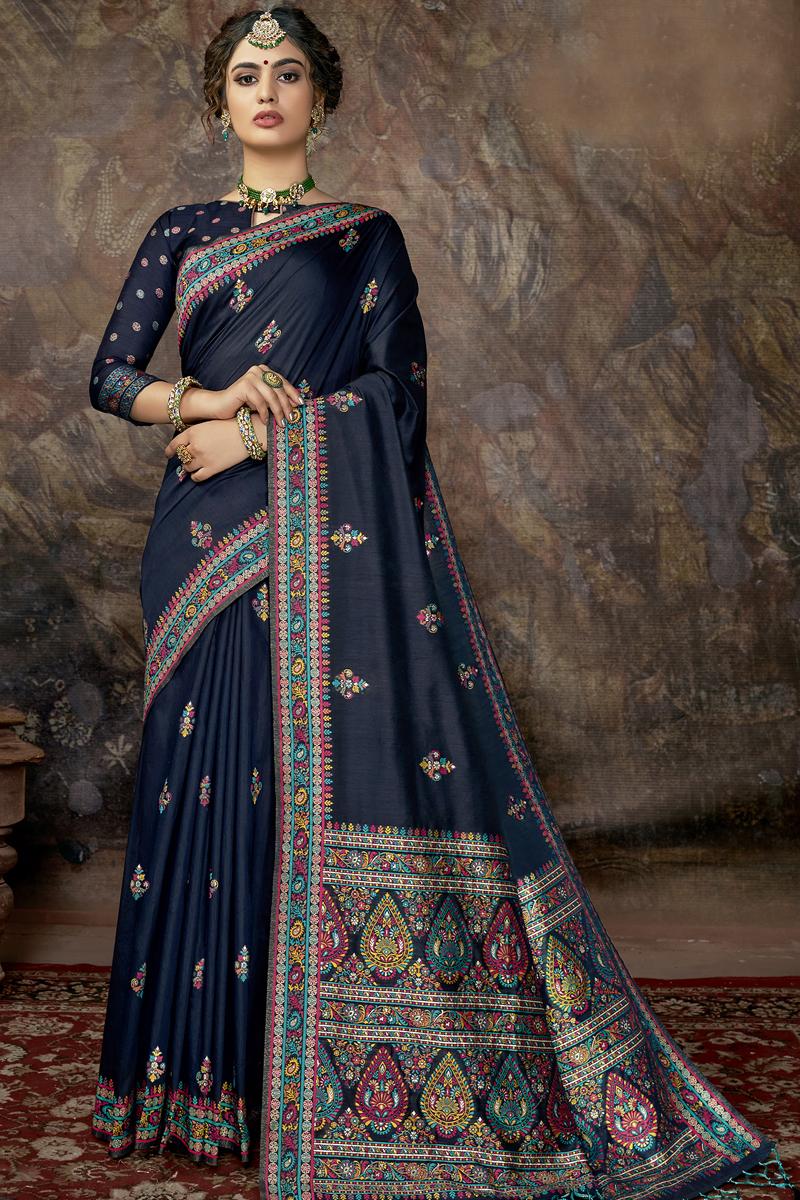 Fancy Navy Blue Color Silk Fabric Sangeet Wear Saree