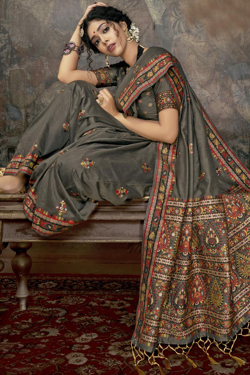 Grey Color Silk Fabric Occasion Wear Saree