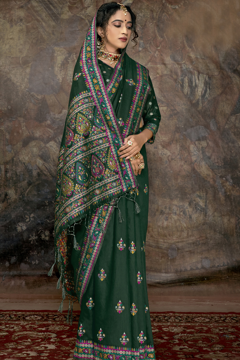 Fancy Silk Fabric Dark Green Color Saree