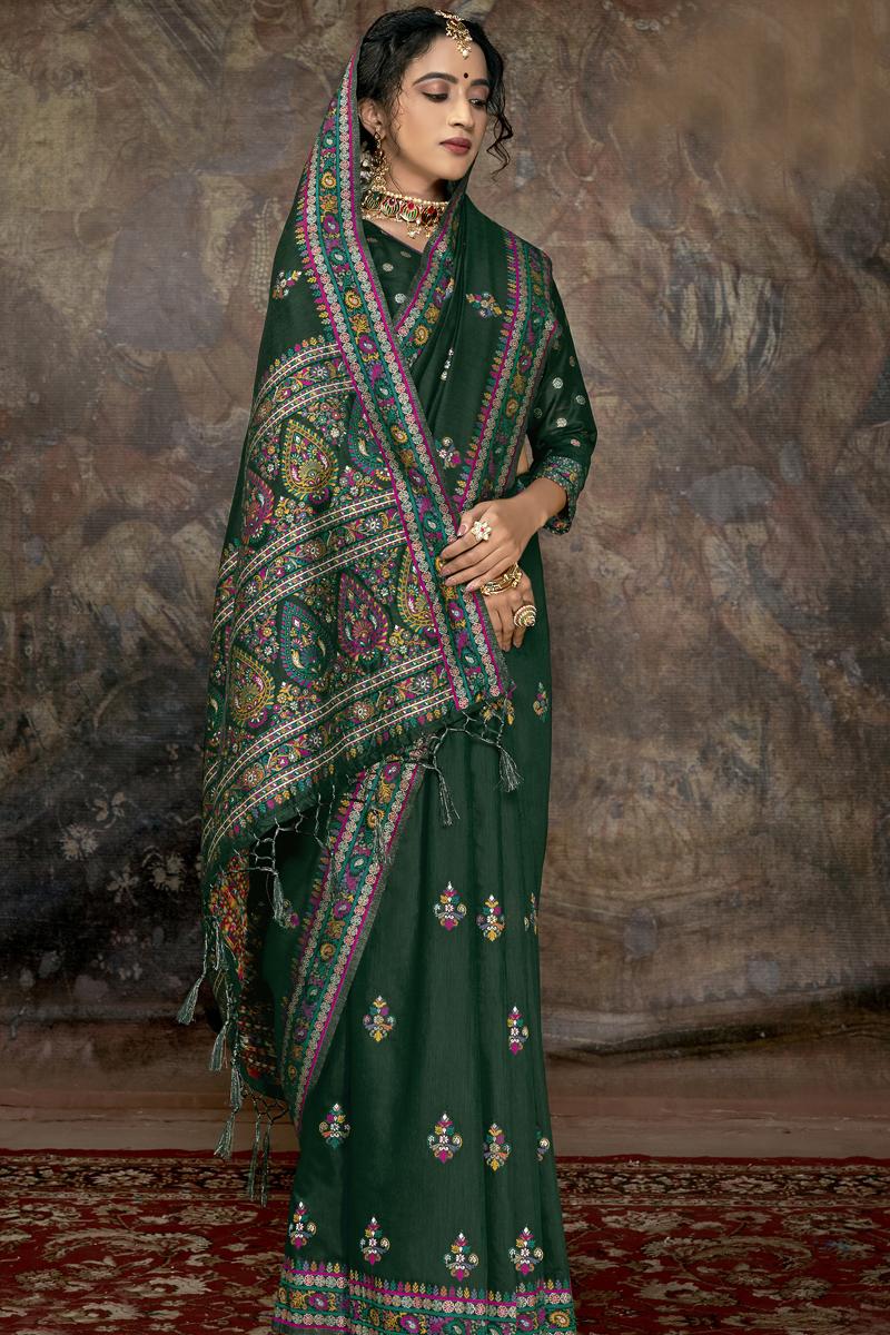 Fancy Dark Green Color Silk Fabric Sangeet Wear Saree