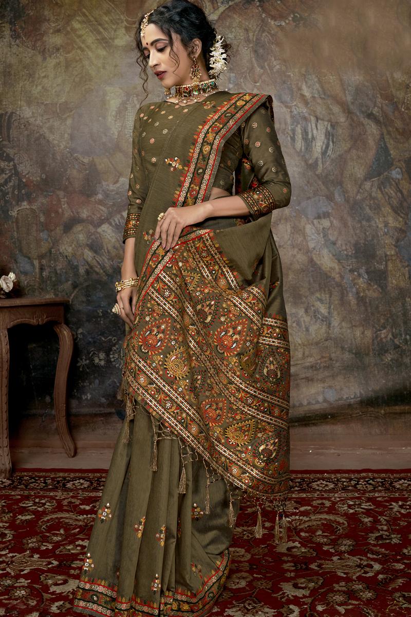 Designer Silk Fabric Dark Beige Color Party Wear Saree