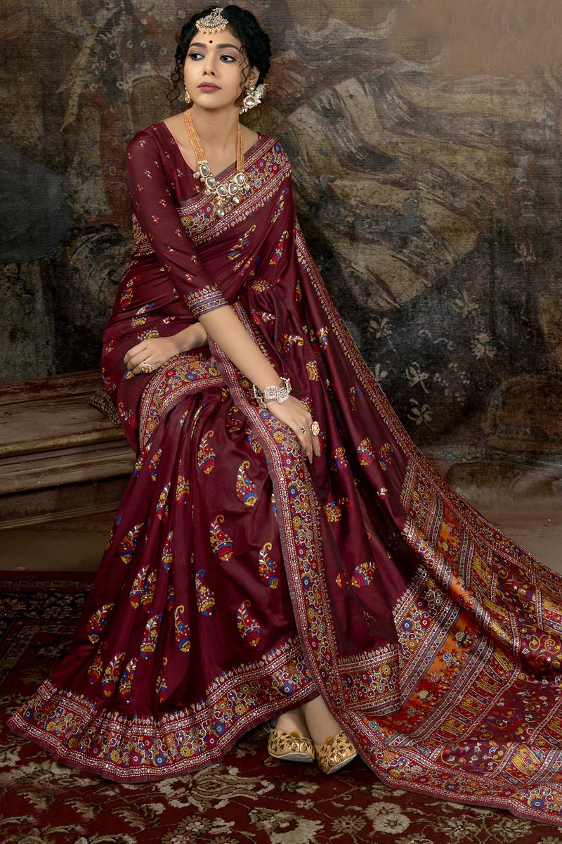 Maroon Color Silk Fabric Party Wear Saree