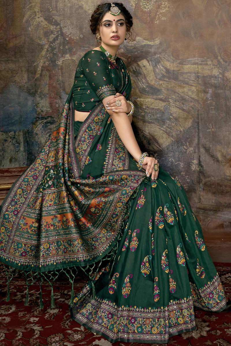 Silk Fabric Designer Party Wear Saree In Dark Green Color