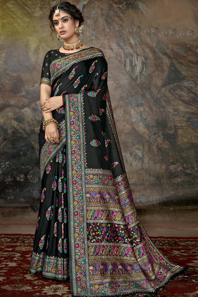 Designer Silk Fabric Function Wear Saree In Black Color