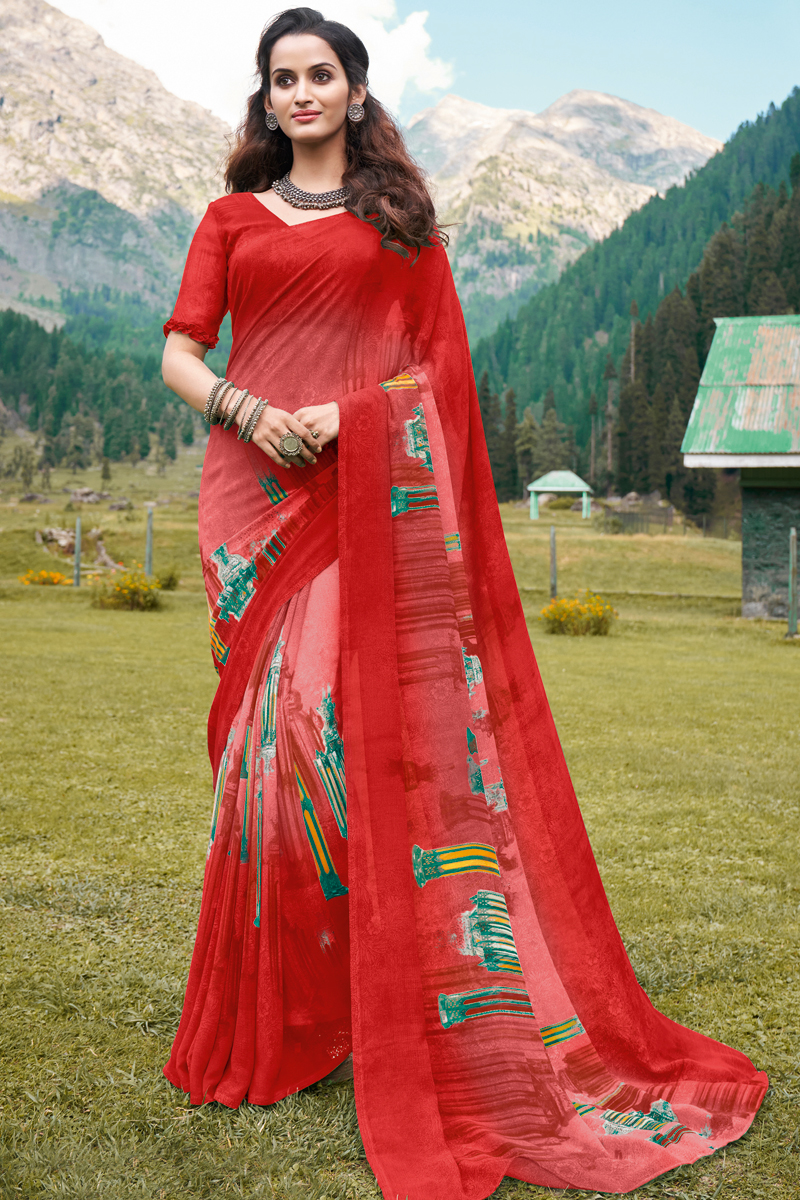 Red Color Georgette Fabric Simple Printed Daily Wear Saree