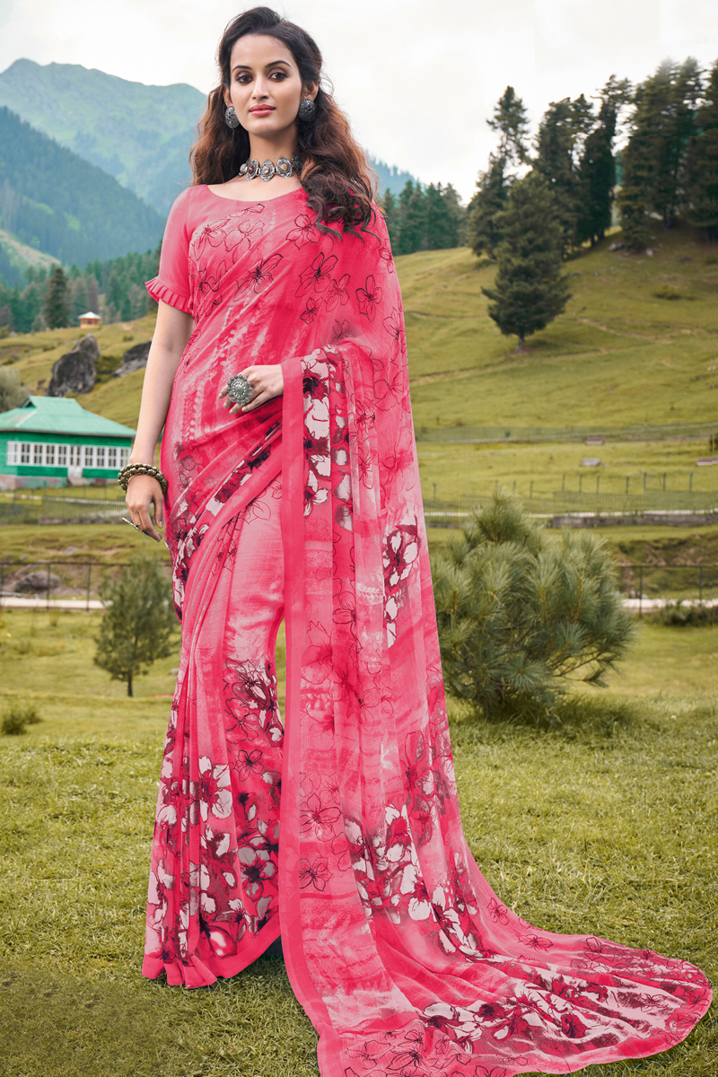 Printed Georgette Fabric Daily Wear Saree In Pink Color